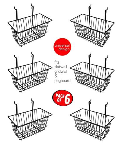 "Only Hangers Slatwall Gridwall Basket 12"" Long x 6"" Deep x 6"" High Black  6pk"