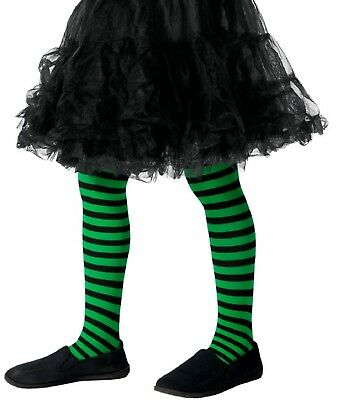 Mädchen-grün Schwarz Böse Hexe Halloween Kostüm Kleid Outfit Strumpfhose 8-12 (Böse Mädchen Hexe Kostüm)