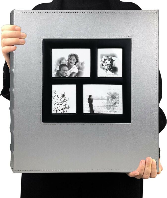 FASTSHIP Huge Photo Album 600 Capacity 4x6 Photos Leather Cover Family Silver