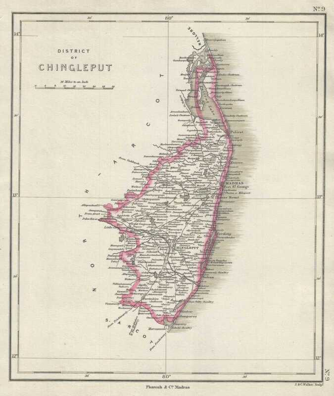 1854 Pharoah Map of the Chingleput District, Tamil Nadu, India