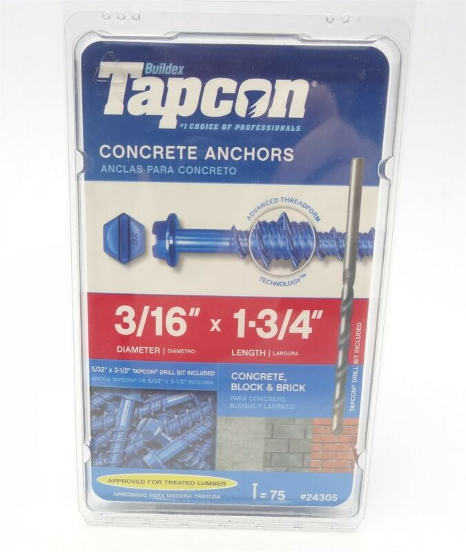 Tapcon 3/16 in. x 1-3/4 in. Hex-Washer-Head Concrete Anchors, 24305 (75-Pack)