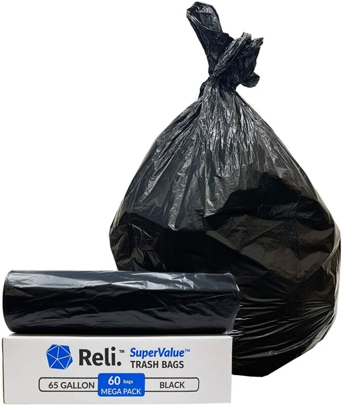 Reli. SuperValue 65 Gallon Trash Bags (60 Count) Toter 64 Gal Trash Can Liners