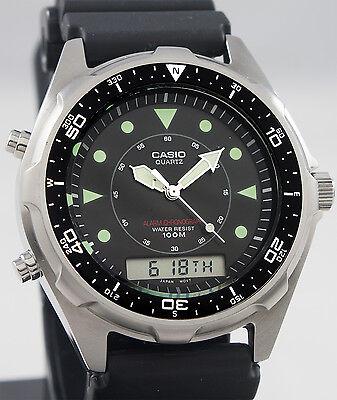 Casio AMW320R-1EV DIVER Watch 100M WR Chronograph Black Sports Dial Alarm New