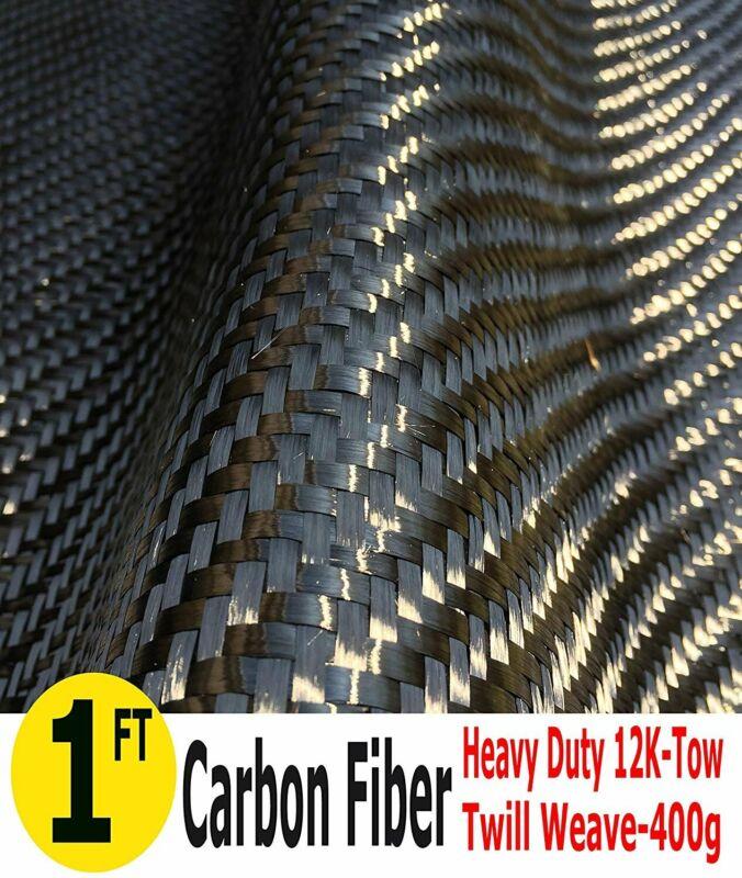 CARBON FIBER FABRIC-TWILL WEAVE-12K/400g (1 meter wide)