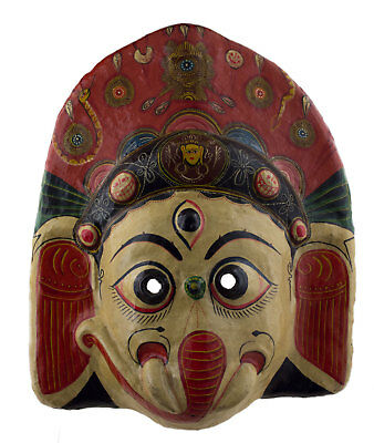 Large Mask Hat and Mitten Set Ganesha Elephant of Ceremony Paper Mache Tibet