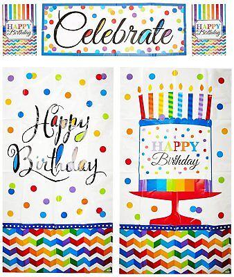 Chevron Birthday Decorations (HAPPY BIRTHDAY SCENE SETTER Party Decorations backdrop Polka Dots Chevron)