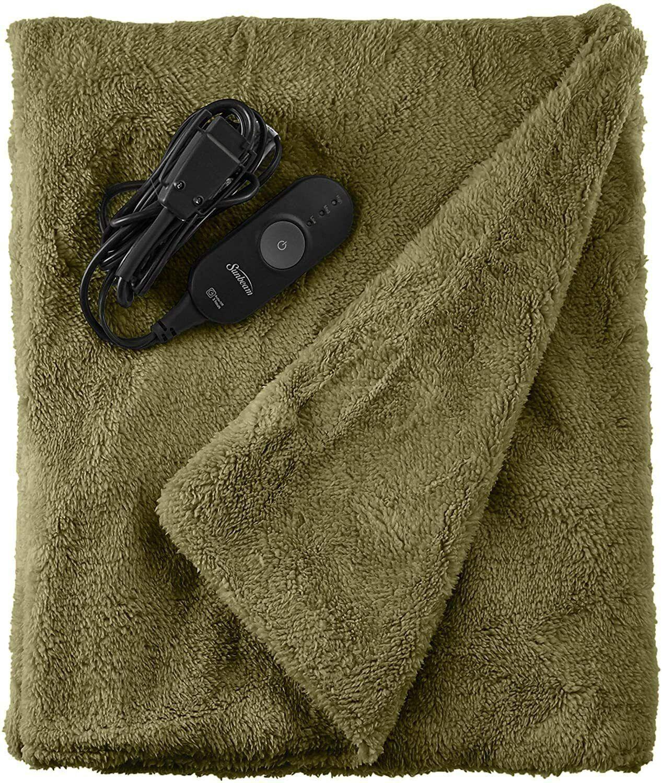 Sunbeam LofTec Microplush Heated Electric Throw Blanket, Sag