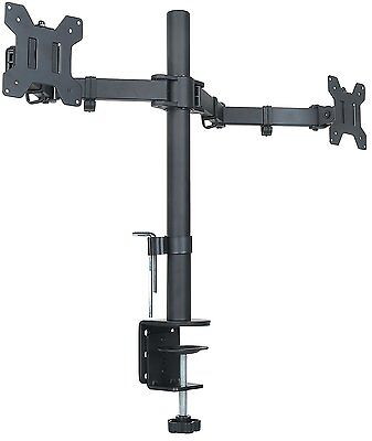 Halter Dual LCD Monitor Stand desk clamp holds up to 27