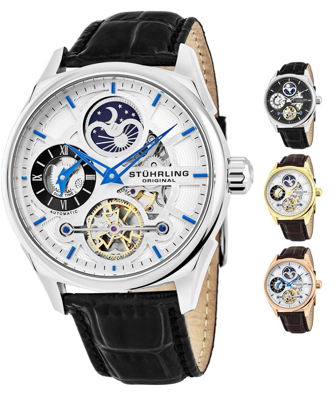 Stuhrling 657 Men's Automatic Self Wind Skeleton Dual Time Luxury Dress Watch