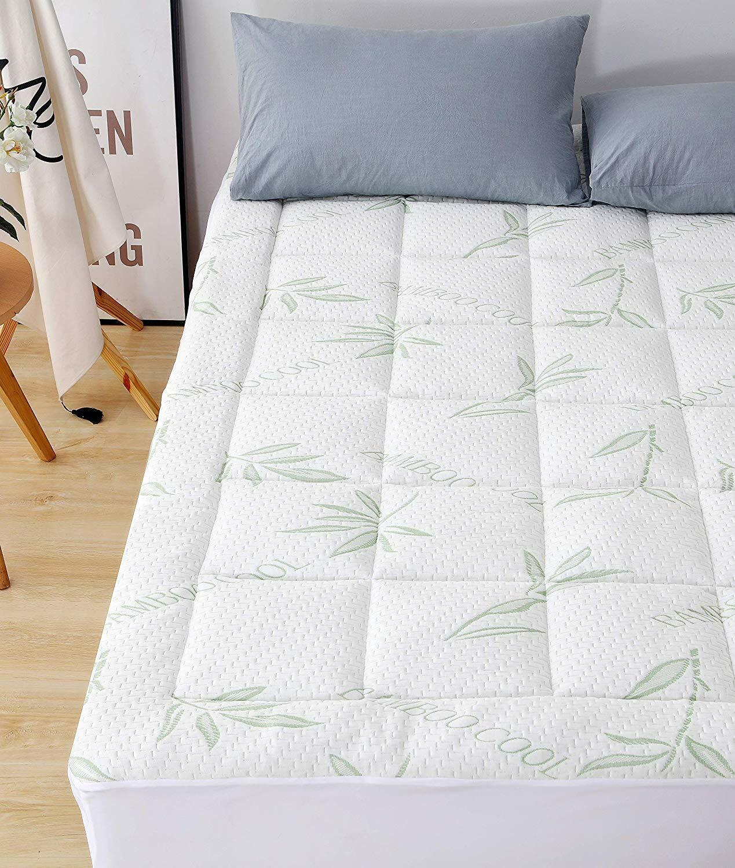 bamboo mattress pad overfilled plush soft cooling