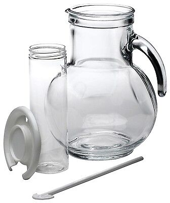 Italian Glass Jug/Pitcher w/Ice Container/Lid & Stirrer Gift Box Dishwasher Safe