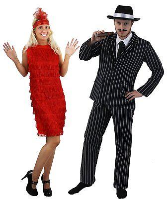 Ganster Kostüme (1920er GANSTER PAARE KOSTÜM ROTES FLAPPER CHARLESTON FRANSENKLEID + NADELSTREIFE)