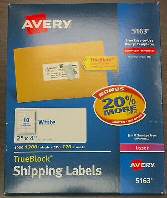 Avery 5163 2 X 4 Trueblock Shipping Labels 1200 Count - Lot Of 4 - 4800 Total