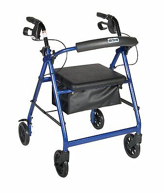 Rollator W/ Fold Up & Removable Back Support BLU R726BL By Drive Medical
