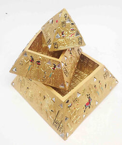 Egyptian Legend Myth Three Level Gold Pyramid Jewelry Trinket Box Decor Statue