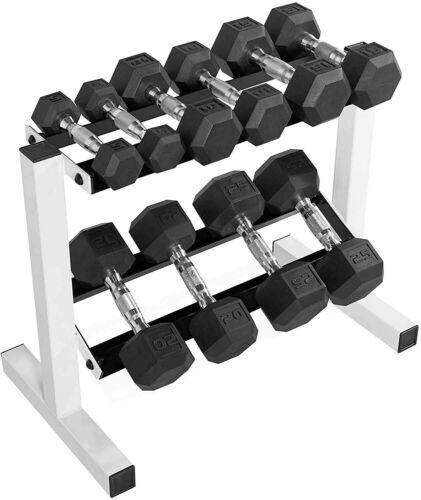 2 Tier Barbell Cap 24 Inch Dumbbell Rack Weight Organizer