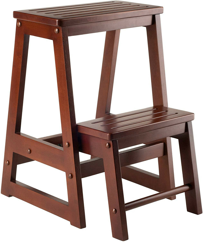 Walnut Wooden Folding Step Stool Seat 2 Tier Platform Ladder