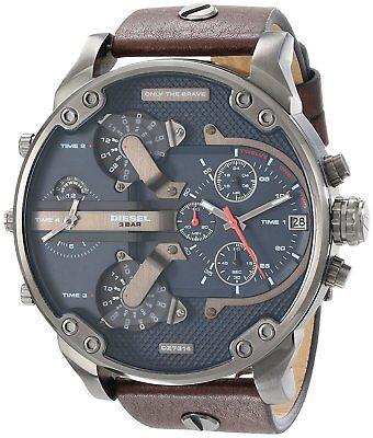 Diesel Mens Dz7314 Mr  Daddy 2 0 Chronograph 4 Time Zones Brown Leather Watch