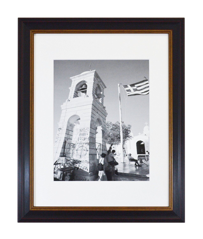 11x14 Black Photo Frame with Burgundy & Gold Trim, White Mat