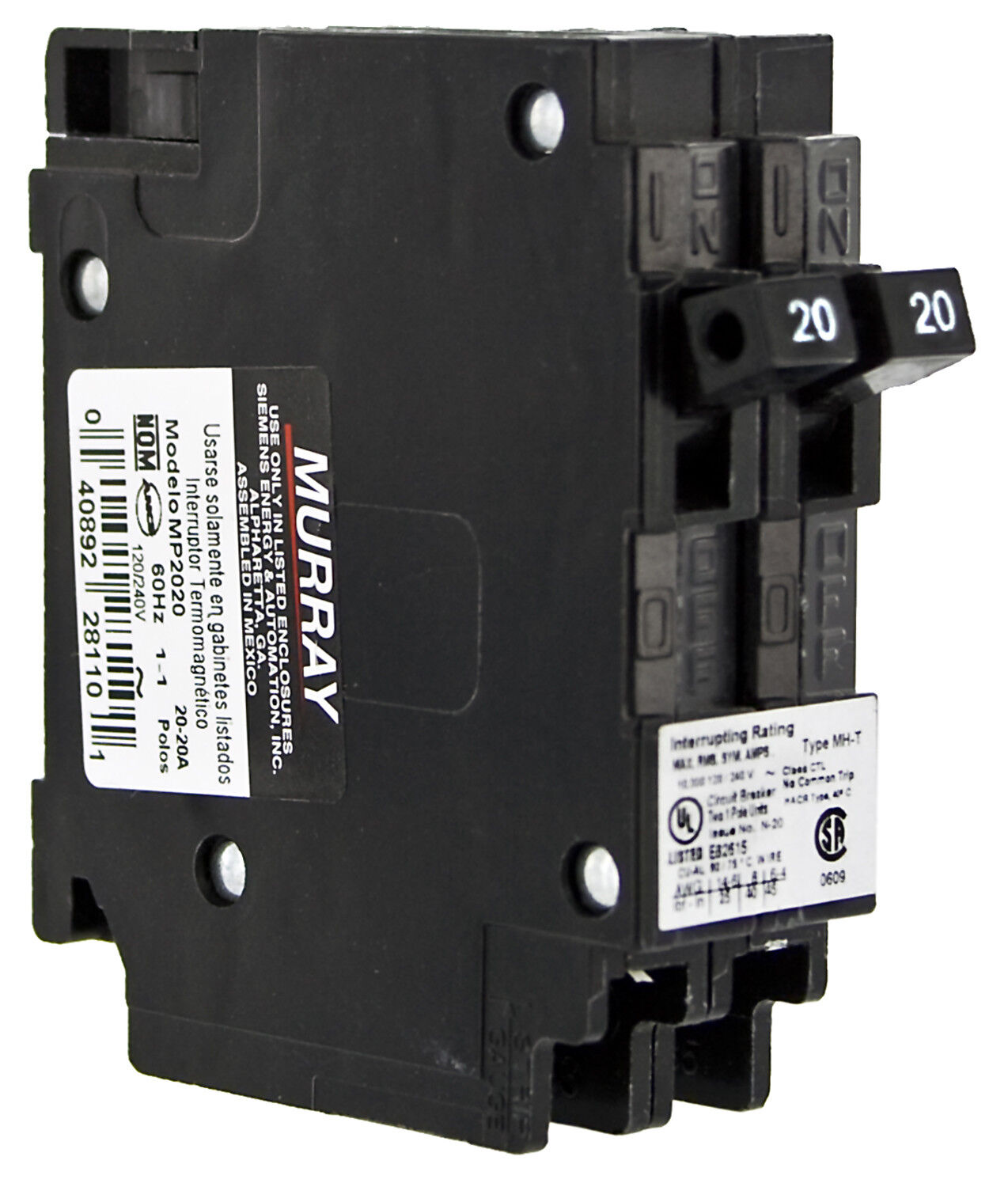 Murray Mp2020 Two 20 Amp Single Pole 120 Volt Circuit Breaker Diagram Of Pushmatic Panel Wiring Stock Photo