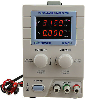 Tekpower Tp3005t Digital Variable Dc Power Supply 30 Volts 5 Amps With Lock