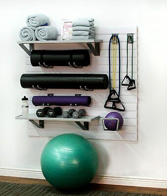 Storewall Deluxe Home Gym Slatwall Storage And Organization Kit Brite White