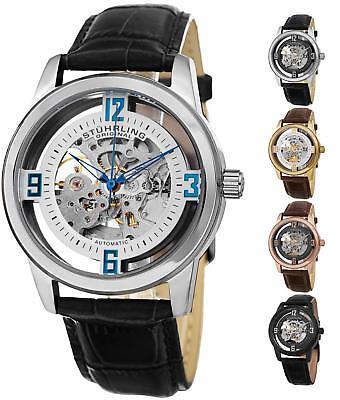 Stuhrling 877 Automatic Self-Wind Skeleton Luxury Dress Leather Strap Watch