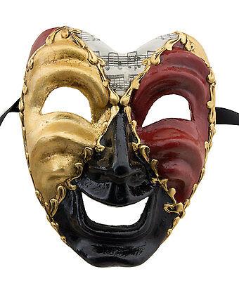 Mask from Venice Face Volto Paper Mache Musica Black Tragedy Laugh 2271 GT1