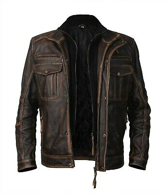 Mens Biker Motorcycle Distressed Brown Moffit Leather Jacket