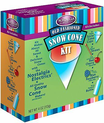Nostalgia Snow Cone Maker Machine Supply Kit W Flavor Syrups Serving Cups Spoon