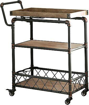 Furniture of America Galdin 3 Tier Rolling Wine Cart