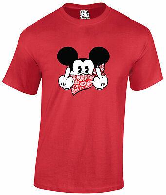 Gangster Mickey Mouse Disney Parody Finger Swearing Hood Gangsta T shirt Tee