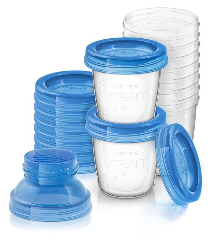 Philips Avent Leak Proof Breast Milk Storage Cups with Adaptors - 10 Pack