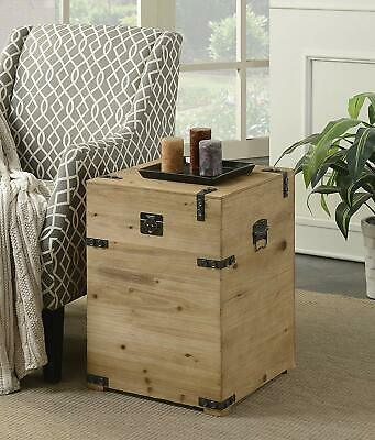 Rustic Trunk End Side Chart Storage Western Real Solid Wood Cabin Lodge