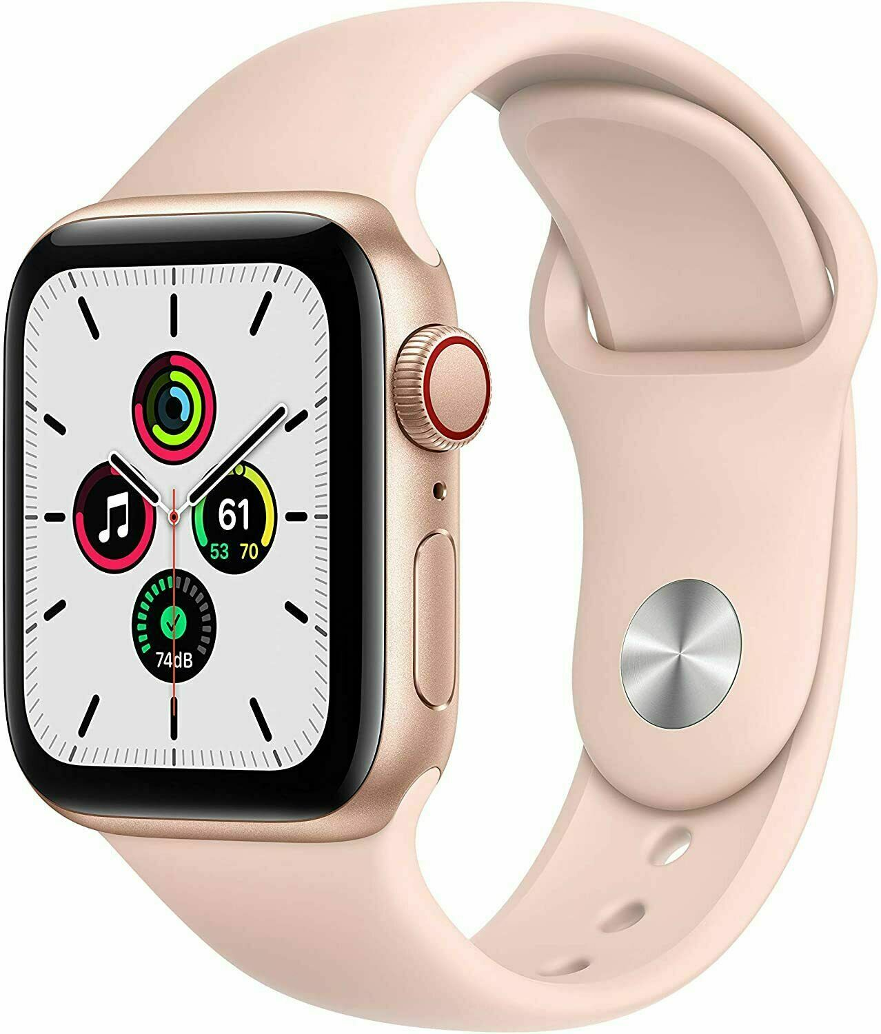 APPLE WATCH SE 40MM GOLD ALUMINUM CASE PINK SAND SPORT BAND