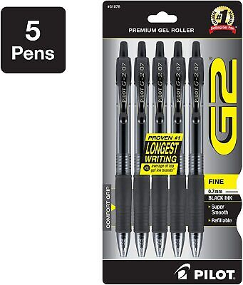 Pilot G2 Premium Refillable Retractable Rolling Ball Gel Pens Black 5-pack