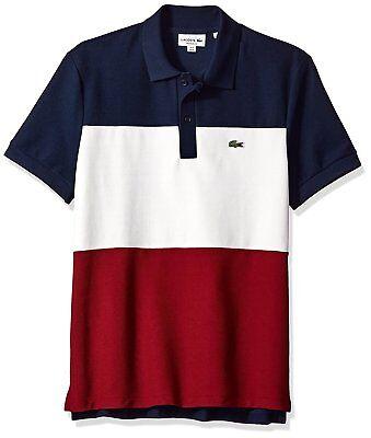 Lacoste Short Sleeve Noppe Pique Striped Navy Blue Color Block Polo - Size 5/L