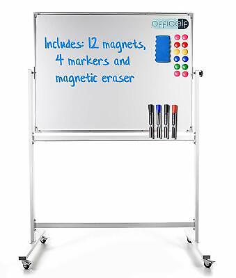 Portable Dry Erase Board On Wheels - Double Sided White Board 48x36 Large Nib