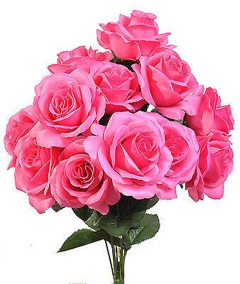 (Hot Pink ~ 12 Open Long Stem Roses Silk Wedding Flowers Bridal Bouquets Decor)
