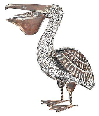 Outdoor Metal Pelican Decor Stake Garden Bird Yard Art Sculpture Rustic S