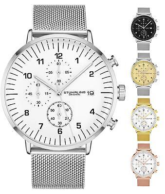 - Stuhrling Men's 3911 Japanese Quartz Chronograph Sport Dress Mesh Band Watch