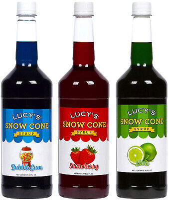 Lucys Shaved Ice Snow Cone Syrup - Bubblegum Strawberry Lime - 32oz Bottles