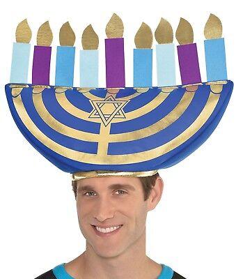 Ladies Mens Jewish Celebration Menorah Hanukkah Fancy Dress Costume Outfit - Hanukkah Hats