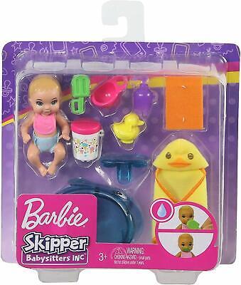 BARBIE SKIPPER BABYSITTERS INC BABY GIRL DOLL with FEEDING & BATH TIME PLAYSET