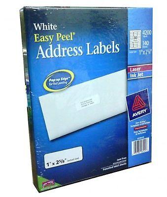 Avery Easy Peel White Address Labels Laser Inkjet Printers 1 X 2-58 4200 Ct.