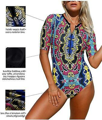 Womens Sexy Zip Front Printed Half Sleeve One Piece, Aa Red, Size Medium Ca60 - $13.99