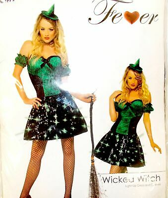 Smiffys Fever Wicked Witch Green Black Costume Dress Adult S 6-8 NIP
