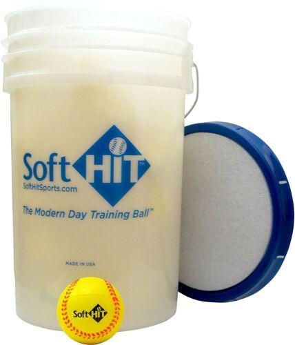 Soft Hit Bucket with 18 Yellow Training Softballs Pitching Aid Equipment