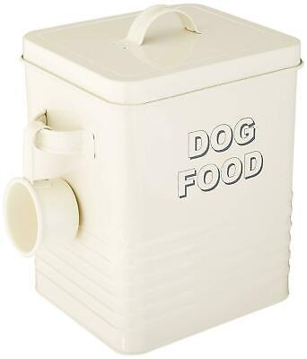 DOG FOOD Storage Metal TIN With SCOOP And LID Cream Vintage Retro PET Container