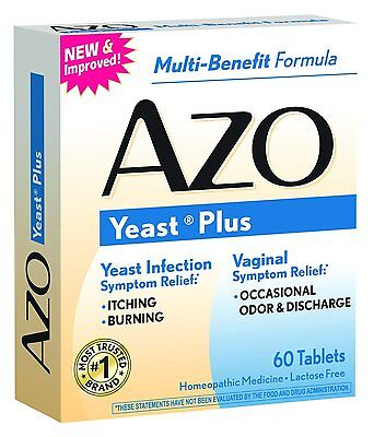5 Pack Azo Yeast Prevention 60 Tablets Ea, Homeopathic Ye...